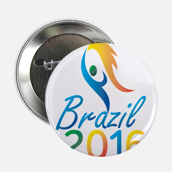 """Brasil 2016 Summer Games Flaming Torch 2.25"""" Butto"""