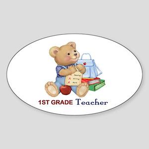 School Days Teddy - 1ST Grade Oval Sticker