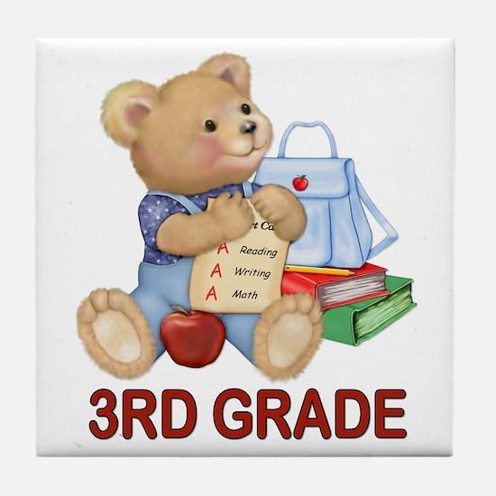 School Days Teddy - 3rd Grade Tile Coaster