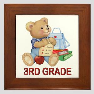 School Days Teddy - 3rd Grade Framed Tile