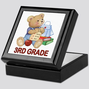 School Days Teddy - 3rd Grade Keepsake Box