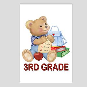 School Days Teddy - 3rd Grade Postcards (Package o