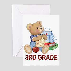 School Days Teddy - 3rd Grade Greeting Cards (Pk o