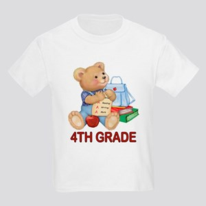 School Days Teddy - 4th Grade Kids Light T-Shirt