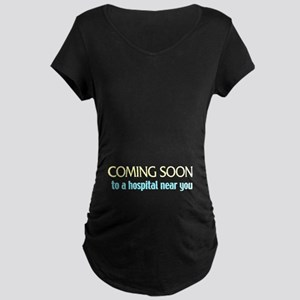 coming soon Maternity Dark T-Shirt
