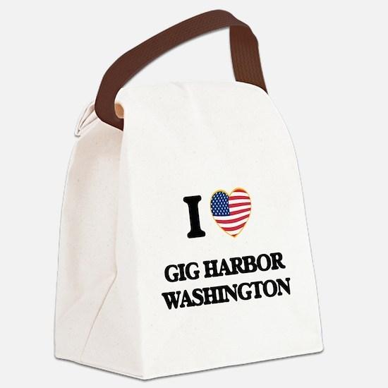 I love Gig Harbor Washington Canvas Lunch Bag
