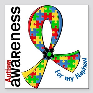 """For My Nephew Autism Square Car Magnet 3"""" x 3"""""""