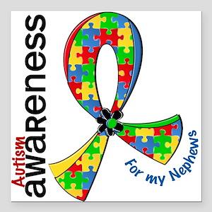 "For My Nephews Autism Square Car Magnet 3"" x 3"""