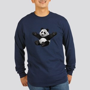 3D Fluffy Panda Bear Long Sleeve T-Shirt