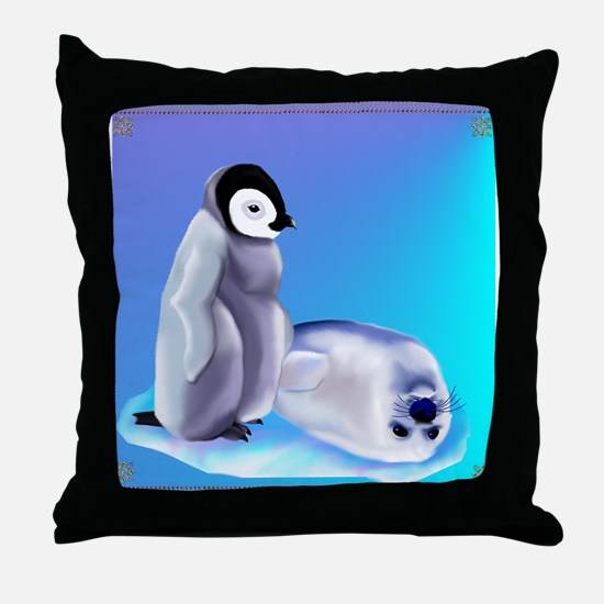 Penquin and Harp Seal Throw Pillow