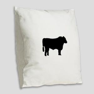 Black Angus Silhouette Burlap Throw Pillow