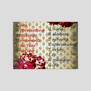 20th Quote; Seasons Greetings 5'x7'Area Rug
