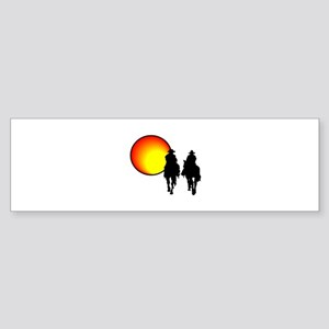 Riding in Sunset Bumper Sticker