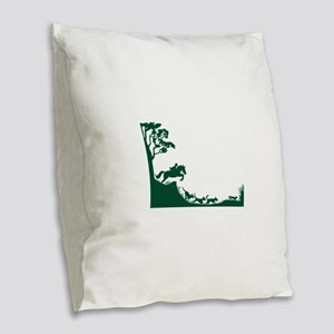 Fox Hunting Silhouette Burlap Throw Pillow