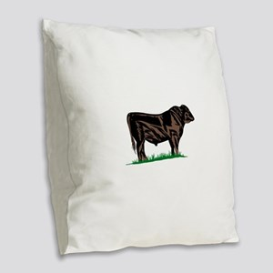 Black Angus Steer Burlap Throw Pillow