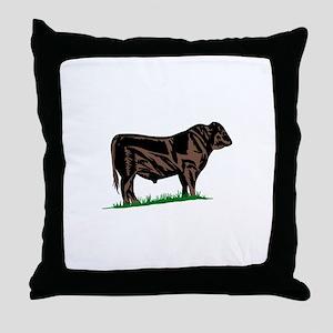 Black Angus Steer Throw Pillow