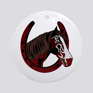 Horse with horseshoe Ornament (Round)