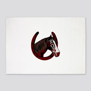 Horse with horseshoe 5'x7'Area Rug