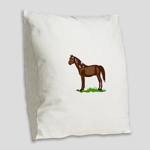 Morgan Horse Burlap Throw Pillow