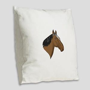 Standardbred Head Burlap Throw Pillow