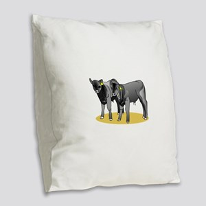 Black Angus Calves Burlap Throw Pillow