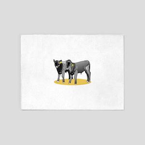 Black Angus Calves 5'x7'Area Rug