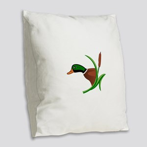 Mallard Head Burlap Throw Pillow