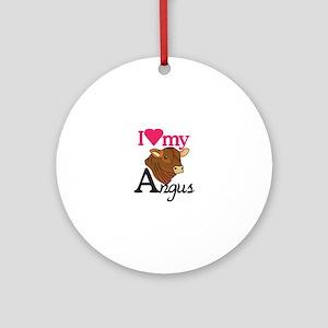 I Love My Angus Ornament (Round)