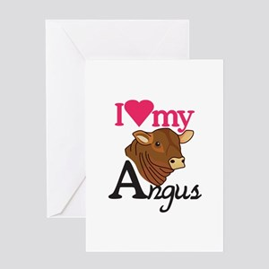 I Love My Angus Greeting Cards