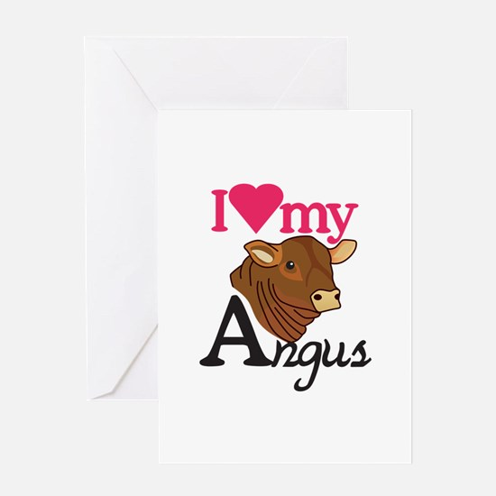 I Love My Angus Greeting Cards