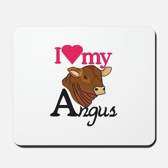 I Love My Angus Mousepad