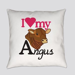 I Love My Angus Everyday Pillow
