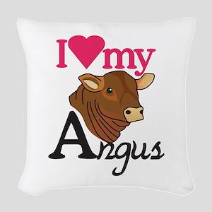 I Love My Angus Woven Throw Pillow