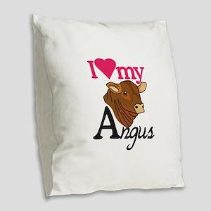 I Love My Angus Burlap Throw Pillow