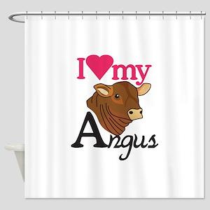 I Love My Angus Shower Curtain