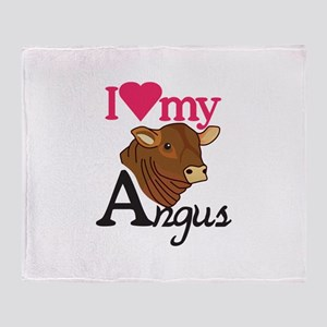 I Love My Angus Throw Blanket