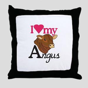 I Love My Angus Throw Pillow