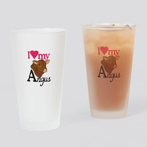 I Love My Angus Drinking Glass