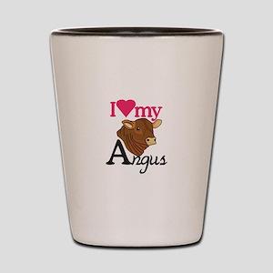 I Love My Angus Shot Glass