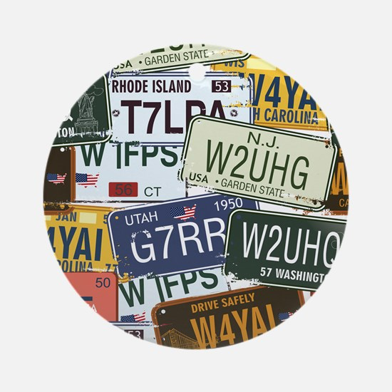 Vintage License Plates Ornament (Round)