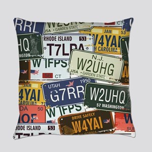 Vintage License Plates Everyday Pillow