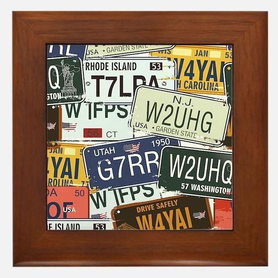 Vintage License Plates Framed Tile