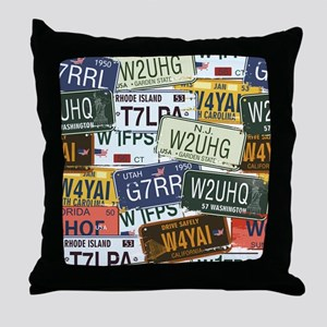 Vintage License Plates Throw Pillow
