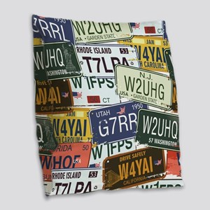 Vintage License Plates Burlap Throw Pillow