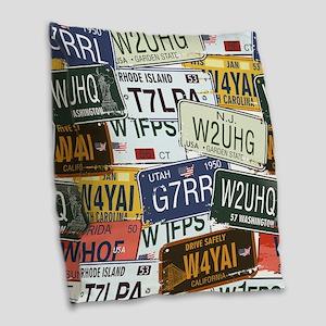 Vintage License Plates Burlap Throw Pillow