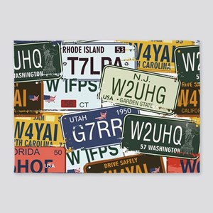 Vintage License Plates 5'x7'Area Rug