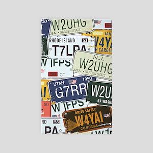Vintage License Plates Area Rug