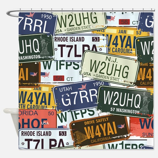 Vintage License Plates Shower Curtain