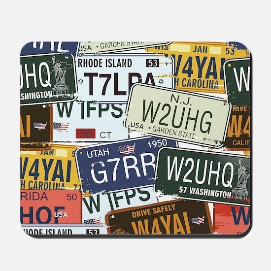 Vintage License Plates Mousepad