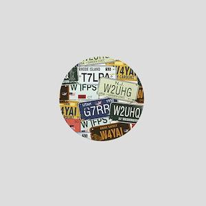 Vintage License Plates Mini Button